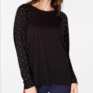 NWT Michael Kors Womens Black Studded Sleeve Top